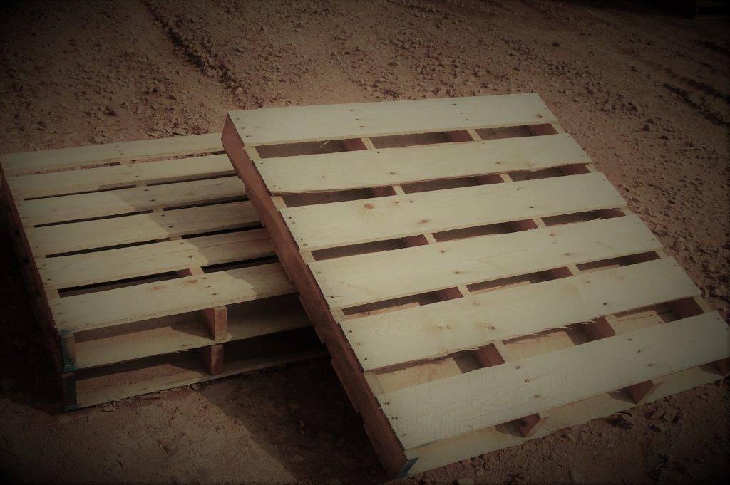 Two wood pallets
