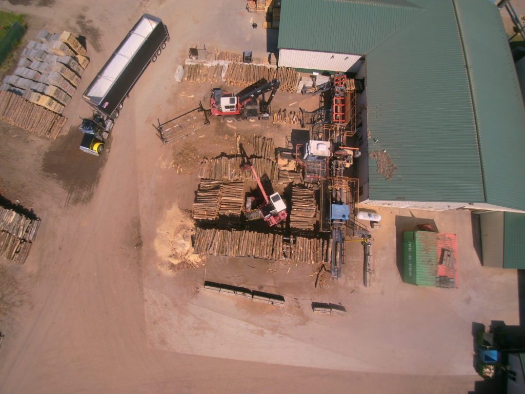Aerial view of Savanna Pallets Lumber Yard in Minnesota